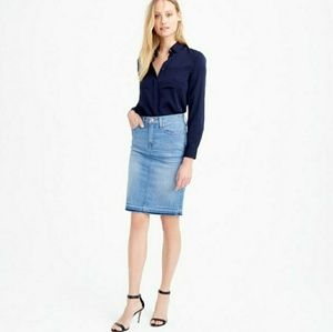 |J. Crew| Frayed Denim Pencil Skirt